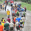 Scouts walking a trail during the National Boy Scout Jamboree Monday morning at the new Summit Bechtel Family National Scout Reserve near Glen Jean, WV<br /> Rick Barbero/The Register-Herald