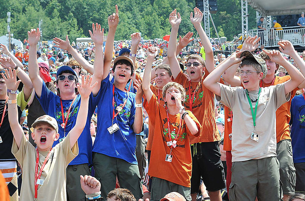 Scouts Cheering during the 3 Doors concert held at National Boy Scout Jamboree Saturday evening at the new Summit Bechtel Family National Scout Reserve near Glen Jean, WV<br /> Rick Barbero/The Register-Herald