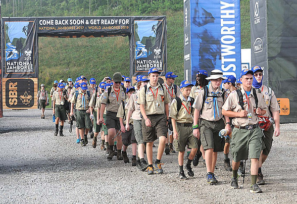 Troop 333, of Roanoke, Va. enter the new Summit Bechtel Family National Scout Reserve in Mt. Hope, WV for the 2013 National Scout Jamboree.<br /> Rick Barbero/The Register-Herald