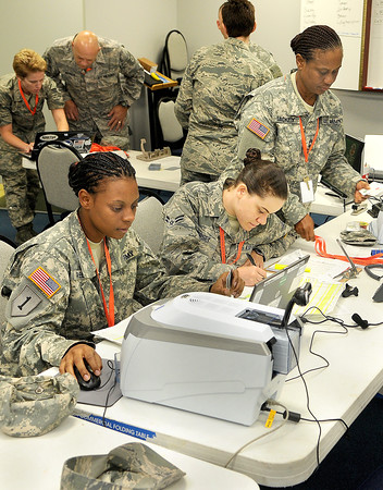 National Guard members have set up a processing center on the campus of  UC-Beckley in order to help organize their involvement with next week's Boy Scout Jamboree. F. Brian Ferguson/The Register-Herald