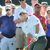 Johnson Wagner chips on the 17th green during the third round of The Greenbrier Classic Saturday on the Old White TPC Course at The Greenbrier Resort in White Sulphur Springs.<br /> Rick Barbero/The Register-Herald