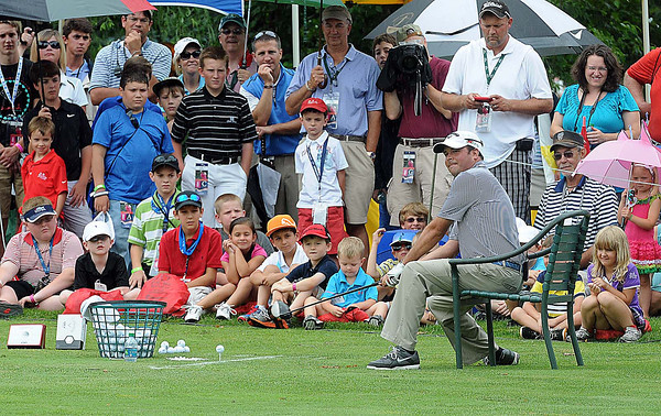 The Greenbrier's own, Billy Winters shows off some of his trick shots during the First Tee Junior Clinic at the Geenbrier Classic. F. Brian Ferguson/The Register-Herald.