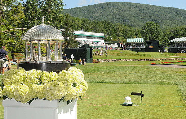 Trophy resting on the 18th hole during the third round of The Greenbrier Classic Saturday on the Old White TPC Course at The Greenbrier Resort in White Sulphur Springs.<br /> Rick Barbero/The Register-Herald