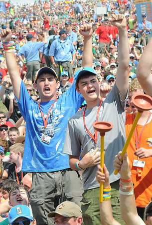 Scouts cheer for Mike Rowe, American media personality, actor and amateur comedian best known as the host of the Discovery Channel series Dirty Jobs, during the National Boy Scout Jamboree Saturday evening at the new Summit Bechtel Family National Scout Reserve near Glen Jean, WV<br /> Rick Barbero/The Register-Herald