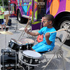 Bradley Nickles, 9, gives the drums a workout during Tuesday's Energy Express events at Bradley Elementary. Children were able to play and tour the School of Harmony's Music Mobile.  F.Brian Ferguson/The Register-Herald
