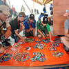 John Vanhoose, troop D424, of Tennessee, left, Alex Rosenberg, troop, A445, of Maryland, Clay Lester, troop A403, of Wyoming, Sam Lester, troop  A403, of Wyoming and Michael Wienands, troop D406, of Missouri, trade patches during the Boy Scout Jamboree Friday morning at the new Summit Bechtel Family National Scout Reserve near Glen Jean, WV<br /> Rick Barbero/The Register-Herald