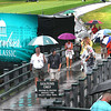 Play was suspended due to inclement weather during the final round of The Greenbrier Classic Sunday on the Old White TPC Course at The Greenbrier Resort in White Sulphur Springs.<br /> Rick Barbero/The Register-Herald