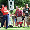Webb Simpson watches his tee shot on the par 4 18th hole during the first round of The Greenbrier Classic Thursday on the Old White TPC Course at The Greenbrier Resort in White Sulphur Springs.<br /> Rick Barbero/The Register-Herald