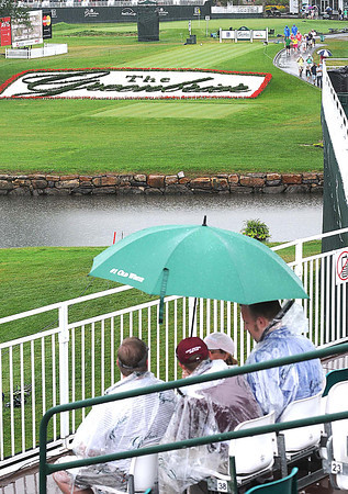View from the 18th hole while play was suspended due to inclement weather during the final round of The Greenbrier Classic Sunday on the Old White TPC Course at The Greenbrier Resort in White Sulphur Springs.<br /> Rick Barbero/The Register-Herald