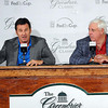Nick Faldo, left, and Jim Justice, right, announce that the Geenbrier will play host to young golfers from around the world as part of the Faldo Series Grand Final in October 2013. F. Brian Ferguson/The Register-Herald.