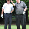 Jim Justice, owner and chairman The Greenbrier Resort, right and Phil Mickelson, talk on the 4th hole during The Greenbrier Classic Pro-Am held on the Old White course Wednesday afternoon.<br /> Rick Barbero/The Register-Herald