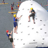 Scouts climbing the iceberg at the challenge course during the Boy Scout Jamboree Friday morning at the new Summit Bechtel Family National Scout Reserve near Glen Jean, WV<br /> Rick Barbero/The Register-Herald