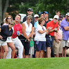 Crowd on the 9th hole during the first round of The Greenbrier Classic Thursday on the Old White TPC Course at The Greenbrier Resort in White Sulphur Springs.<br /> Rick Barbero/The Register-Herald