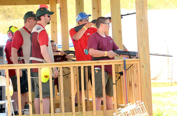 Instructors with scouts at the shooting range during the Boy Scouts of America National Jamboree at the new Summit Bechtel Family National Scout Reserve in Mt. Hope, WV. <br /> Rick Barbero/The Register-Herald