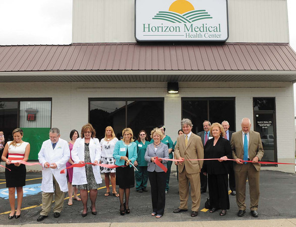 Horizon Medical Health Center ribbon cutting. Pictured from left, Caroline Herrera, Assistant Manager, Jim Lowe, physician assistant, Donna Linkous, nurse practitioner, Christina Hunter, CEO manager director, delegate Linda Sumner, Victor Flannagan, president board of directors Raleigh County Chamber of Commerce, Ellen Taylor, president CEO Raleigh County Chamber of Commerce and delegate Marty Gearheart.<br /> Rick Barbero