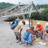 Scouts trading patches near the Consol Energy Bridge during the National Boy Scout Jamboree Monday morning at the new Summit Bechtel Family National Scout Reserve near Glen Jean, WV<br /> Rick Barbero/The Register-Herald