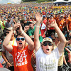 Scouts cheering during the 3 Doors Down concert during the National Boy Scout Jamboree Saturday evening at the new Summit Bechtel Family National Scout Reserve near Glen Jean, WV<br /> Rick Barbero/The Register-Herald
