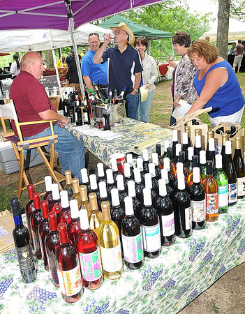 Jerry Deal, owner of Fork's of Cheat Winery in Morgantown, treats people to some wine tasting at his booth during the 15th annual West Virginia Spring Wine Festival at Daniel Vineyards in Crab Orchard.<br /> Rick Barbero/The Register-Herald