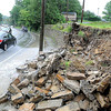 Wall collapsed on Second Street In Beckley.<br /> Rick Barbero/The Register-Herald