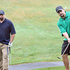 Kevin Biggs, left, and Jimmy Parker, both former teammates at Mt. Hope High School and Marshall University, played golf in the Pruett charity golf scramble at White Oak golf course in Oak Hill.<br /> Rick Barbero/The Register-Herald