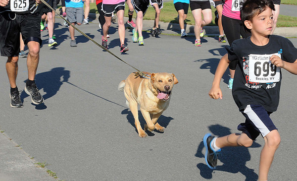 """The Fast and the Furriest"" 5K Run/One Mile Walk got underway on Saturday morning as runners with both two and four legs started at the Paul Cline Memorial Sports Complex. F. Brian Ferguson/The Register-Herald"