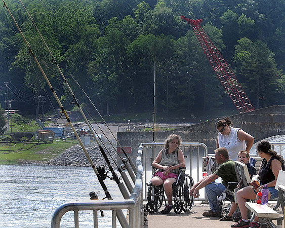 The Byrge family of Beckley made the trip to Bluestone dam on Monday morning to see how the fish are biteing in the New River. (From left), Margaret, James,Margie, Jason, and Michelle. F. Brian Ferguson/The Register-Herald
