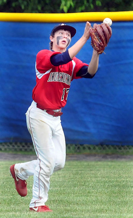 Independence Right Fielder Tanner Ray Austin just misses a hard hit ball  against Pikeview during Thursday evening action in Coal City.. F. Brian Ferguson/The Register-Herald