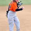 F. BRIAN FERGUSON/THE REGISTER-HERALD=Harmony Mills celebrates after throwing to first for the final out of the game as her Orioles took the win during Saturday's Opening Day of Sophia Little League.