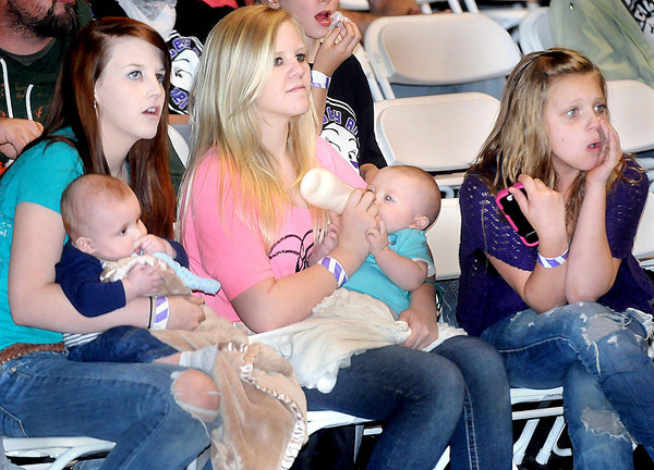 """BADD MAMMA=Daughters and Grandchildren of Hollywood Hiplash came out to watch their Mother, and the rest of the Beckley Area Derby Dames, during Sunday's """"Mother's Day Mayhem at the Beckley Convention center, (From left), Grandson Beau Romeo, Daughter Mikalya Jones, Aleena Jones, Son Kolten Mitchel, and Daughter Brianna Hoffman. F. Brian Ferguson/The Register Herald"""