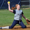 Shady Spring Second Baseman throws from her knees for the out against Greenbrier East during Thursday afternoon action in Shady Spring. F. Brian Ferguson/The Register-Herald