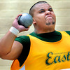 Greenbrier East's Tre' Moore throws the shot during Friday's AAA event at the State Track Meet in Charleston.F. Brian Ferguson/The Register Herald