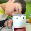 Jack Ellis, 11, of Fayetteville, paints his coffee mug at the Pottery Place at Galleria Plaza in Beckley.<br /> Rick Barbero/The Register-Herald