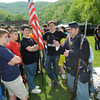 Charles Stewart, right, dressed as a Union soldier, speaks to students during the Wyoming County Civil War Days in Oceana on the field behind Oceana Middle School.<br /> Rick Barbero/The Register-Herald