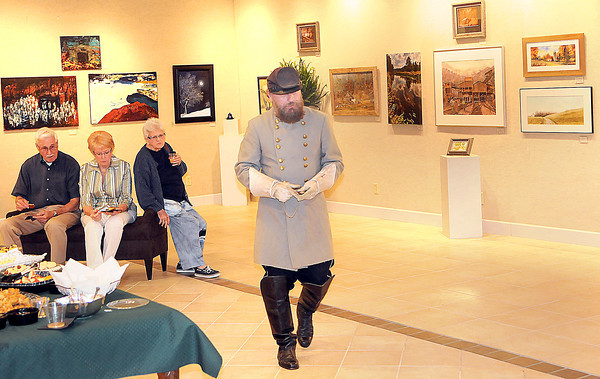 "Steve Castle played the role of ""Stonewall"" Jackson as he spoke to the audience at the West Virginia Statehood Exhibit opening on Friday at the Beckley Art Gallery. F. Brian Ferguson/The Register-Herald"
