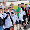 Cub Scouts participating in the Seneca District Olympics held at the State Fair ground in Fairlea, say the pledge of allegiance during the opening the ceremony.<br /> Rick Barbero/The Register-Herald