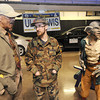 Eugene Ashe, of Beckley, left, talks with Alex Seletyn and Booger at the Glade Spring Fright Nights booth during the Raleigh County Chamber of Commerence business show held at the Beckley-Raleigh County Convention Center.<br /> Rick Barbero/The Register-Herald
