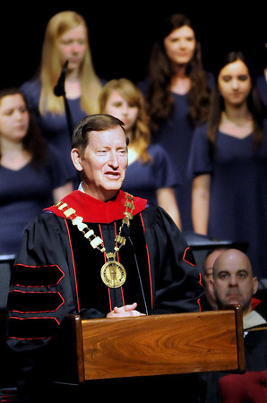 F. BRIAN FERGUSON/THE REGISTER-HERALD=Appalachian Bible College President Daniel Anderson, Th.D., gives the introduction during the school's Commencement Program on Saturday morning.