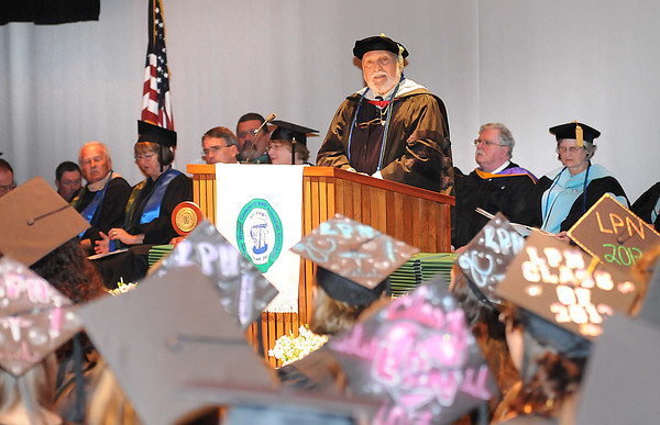 David Perkins, Ed.D., New River President Emeritus, speaks during New River Community & Technical College commencement ceremony held at the Chuck Mathena Center in Princeton.<br /> Rick Barbero/The Register-Herald
