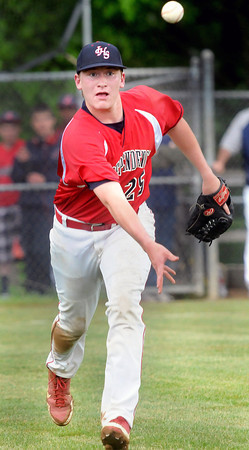 Independence Pitcher Jeremy McGinnis tosses the ball to first base for the out against Pikeview during Thursday evening action in Coal City.. F. Brian Ferguson/The Register-Herald