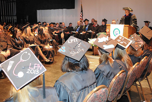 L. Marshall Washington, PH.D., president New River, speaks during New River Community & Technical College commencement ceremony held at the Chuck Mathena Center in Princeton.<br /> Rick Barbero/The Register-Herald