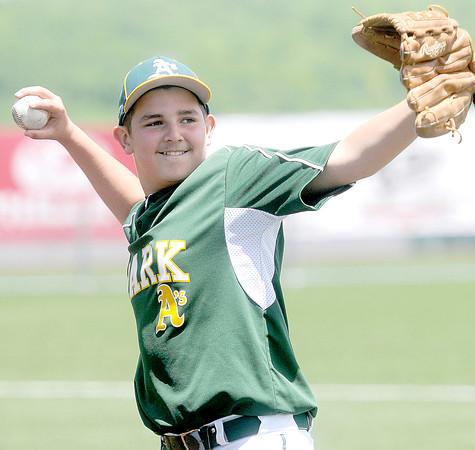 Jacob Sheets of the Park Middle School-Oakland A's warms up on Saturday at Linda K. Epling Stadium..F. Brian Ferguson/The Register-Herald