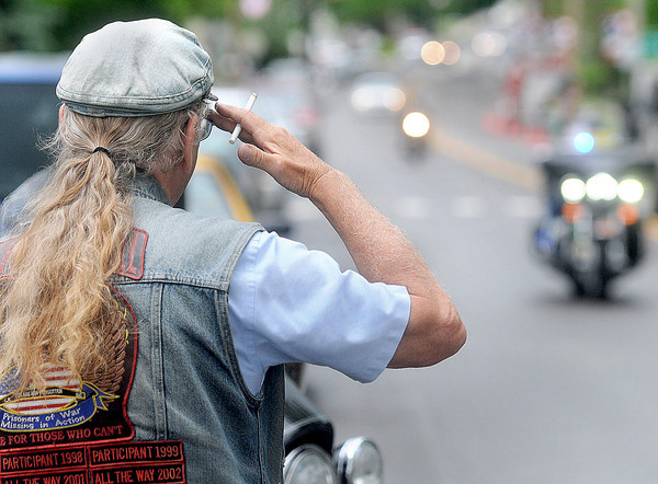 Veterans gave a slaute to Rolling Thunder during the 25th year during Thursday's Run for the Wall Event. F. Brian Ferguson/The Register-Herald