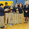 Shady Spring Middle School students won the History Bowl state title. Pictured from left, Melody Cox, team coach, Ryan Young, Peyton Michaels, Kristen Miller  Rachel Carrico and First Lady JoAnn Tomblin, who presented the award.<br /> Rick Barbero/The Register-Herald