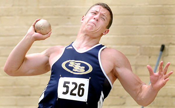 Shady Spring's Houstin Severtson throws the shot during Friday's AAA event at the State Track Meet in Charleston.F. Brian Ferguson/The Register Herald