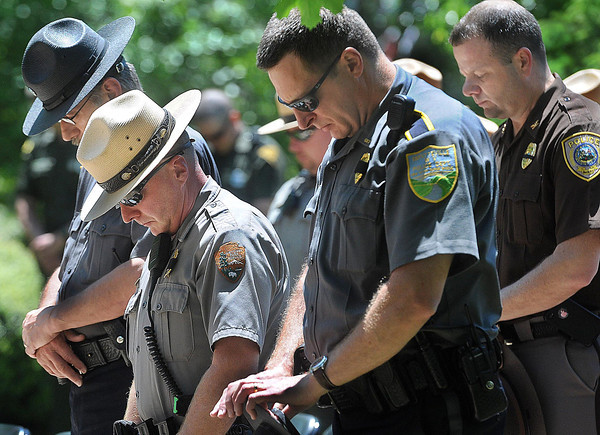 """All branches of area law enforcement gathered in front of the Fayette County Courthouse on Wednesday for the FOP""""s Annual Police Memorial Service.F. Brian Ferguson/The Register Herald"""