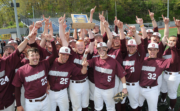 Concord Unversity celebrates after beating West Virginia State University 11-4 in the championship game of the WV conference baseball tournament Saturday afternoon.<br /> Rick Barbero/The Register-Herald