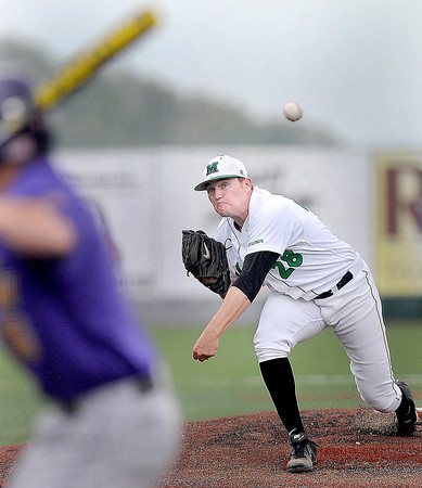 Marshall University Pitcher Wayland Moore delievers against East Carolina during Friday action at Linda K. Epling Stadium. F. Brian Ferguson/The Register-Herald