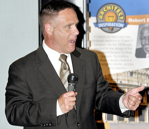 Raleigh County Schools Superintendent, Jim Brown speaks to area teachers during the Students First Mini Grants Awards on Thursday evening  at the Youth Museum. F. Brian Ferguson/The Register-Herald