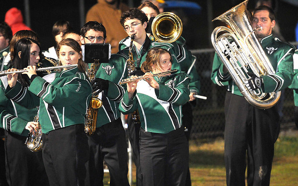 Wyoming East band performing before game against Nicholas Co. at Wyoming East High School.<br /> Rick Barbero/The Register-Herald