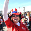 Mary Ann Cruise, nurse recruiter Beckley Va Hospital, waves to the crowd during Beckley Veterans Day Parade on Neville Street.<br /> Rick Barbero/The Register-Herald